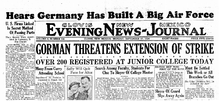 Clovis News-Journal Sept 17, 1934