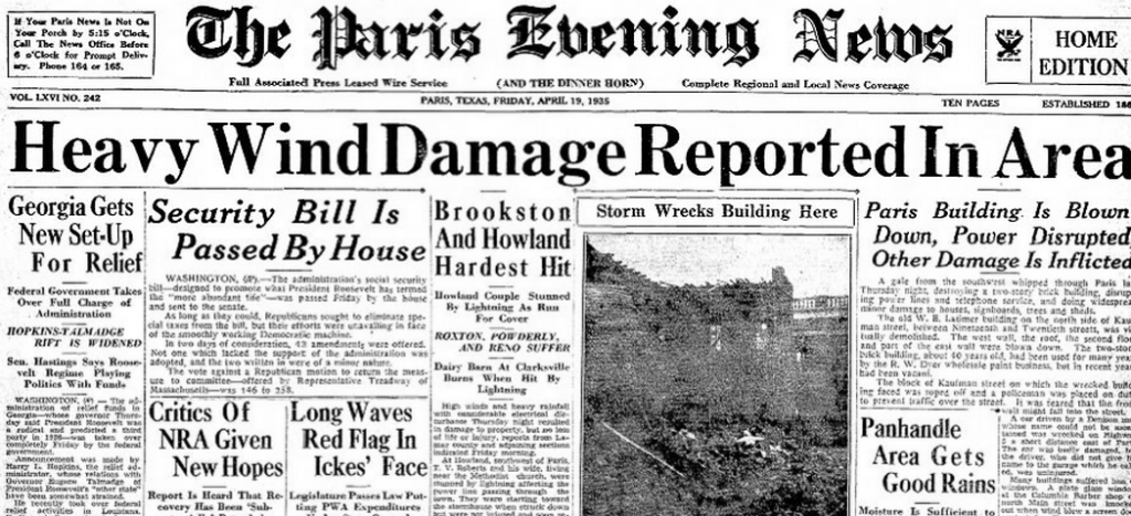 The Paris Evening News Paris, TX April 19, 1935