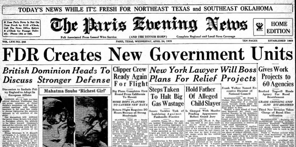 The Paris Evening News Paris, TX April 24, 1935