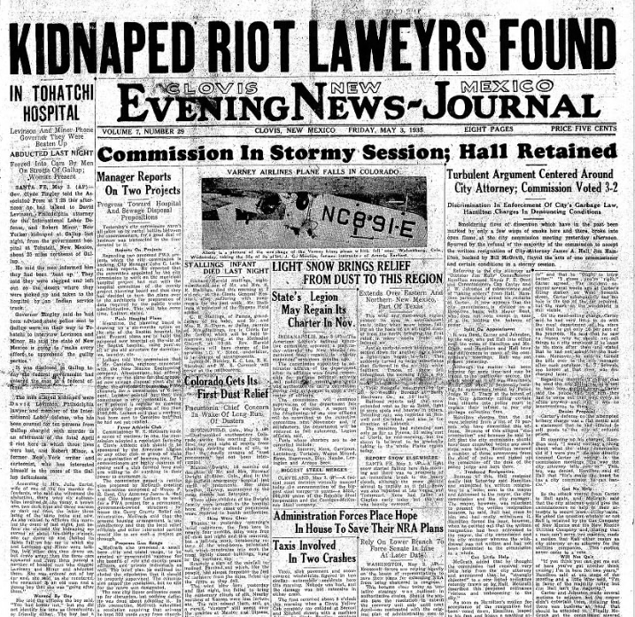 Clovis Evening News Journal Clovis, NM May 3, 1935