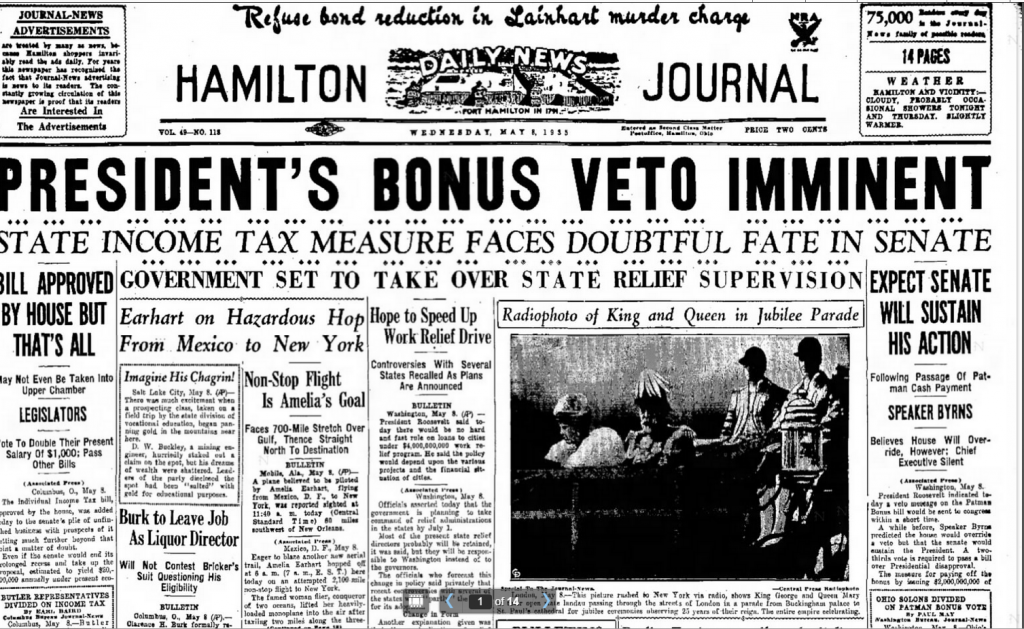 Hamilton Daily News Journal  Fort hamilton, IN May 8, 1935