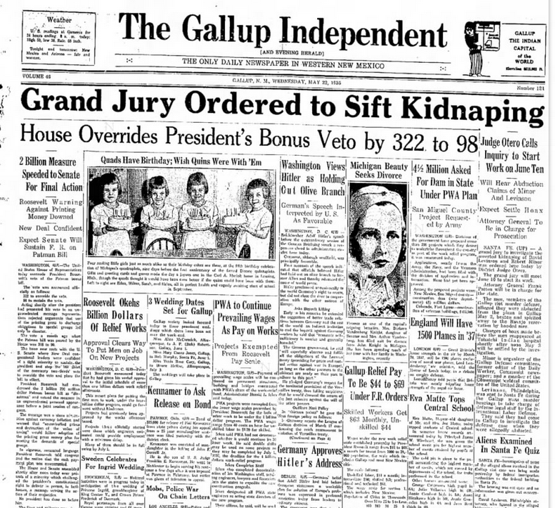 The Gallup Independent Gallup, NM May 22, 1935