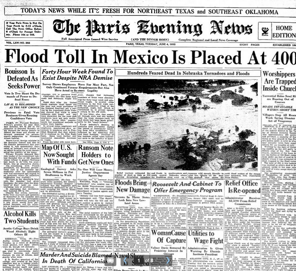 The Paris  Evening News Paris, TX June 4, 1935