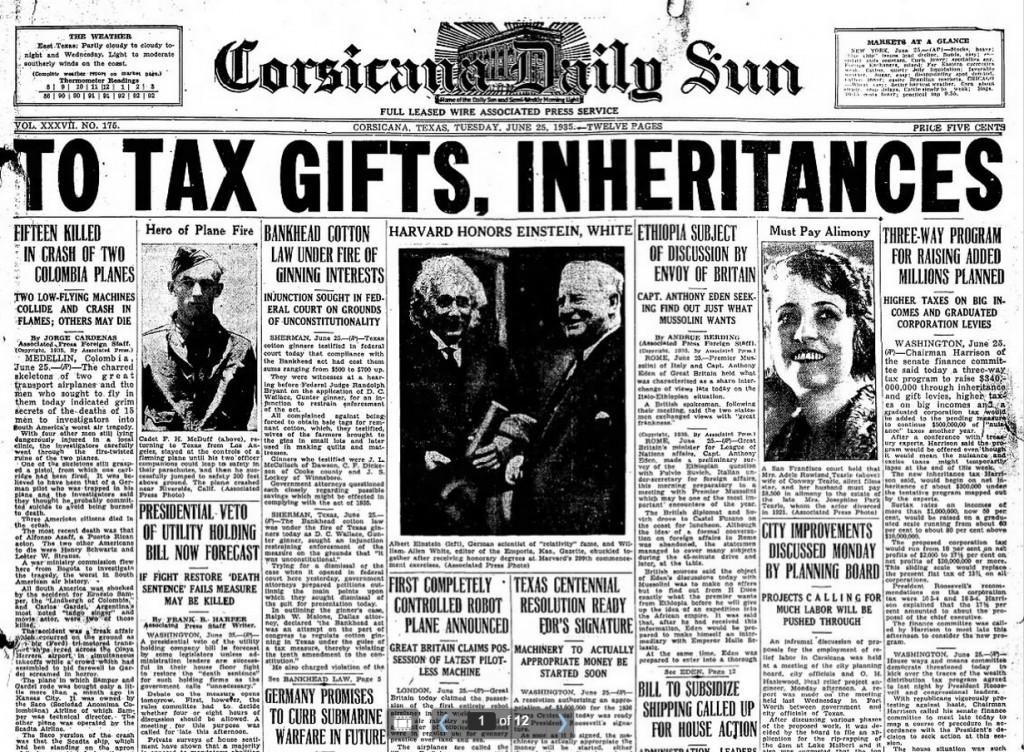 Corsicana Daily Sun Corsicana, TX June 25, 1935