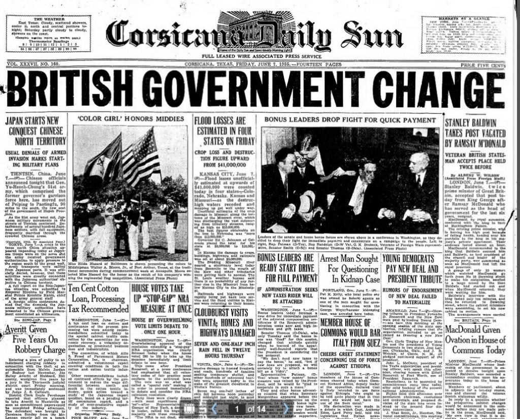 Corsicana Daily Sun, Corsicana, TX June 7, 1935