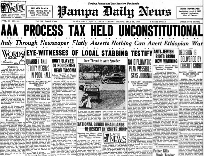 Pampa Daily News July 16, 1935