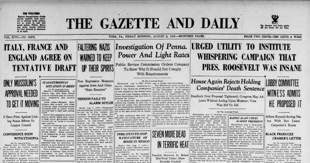 The Gazette and Daily York, Pa. August 2, 1935