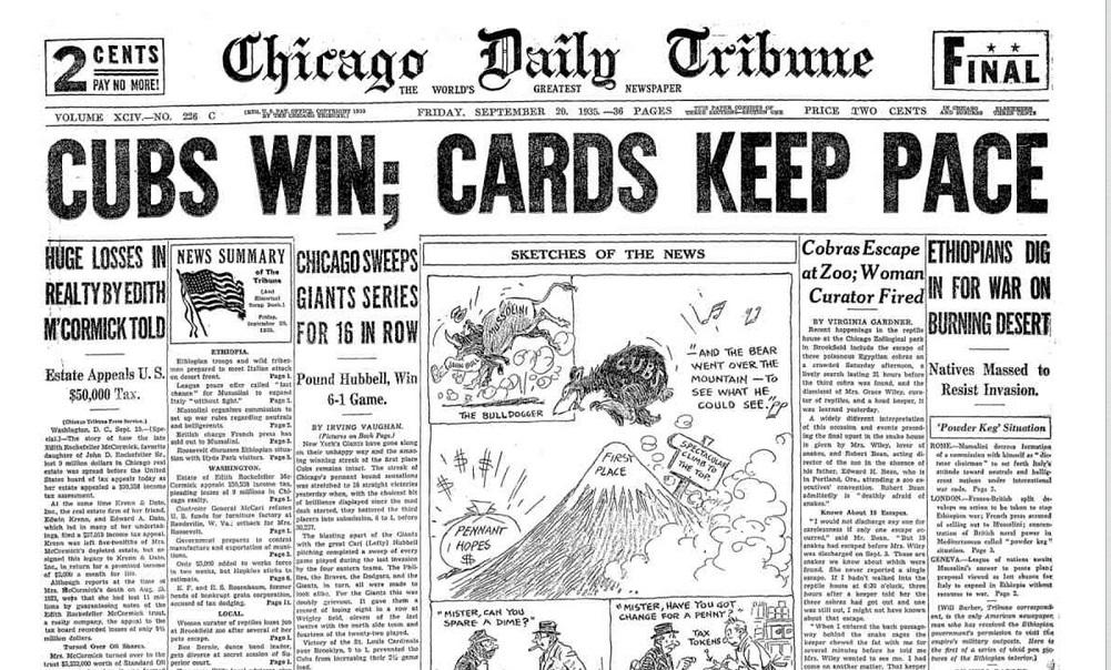 Chicago Daily Tribune Sept. 20, 1935