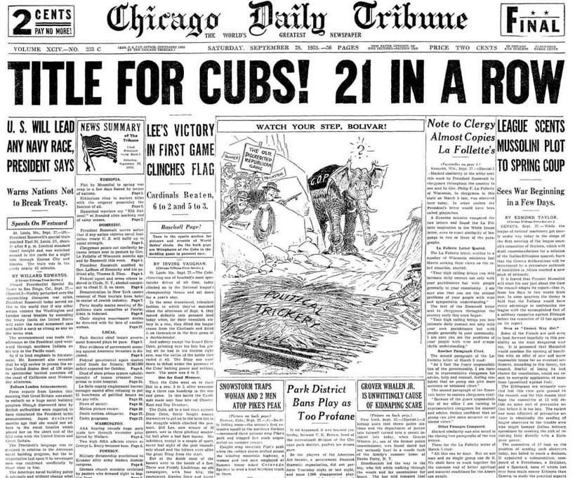 Chicago Daily Tribune Sept 28, 1935