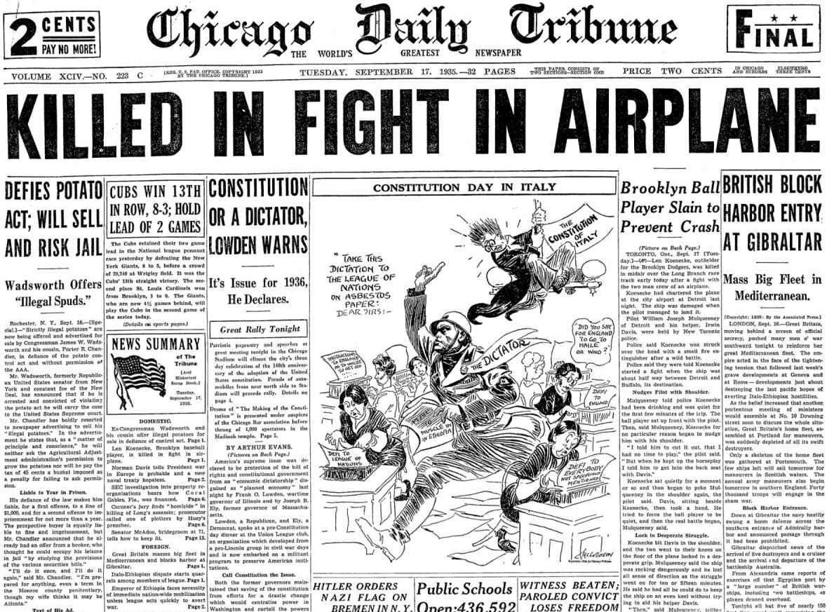 Chicago Daily Tribune  Sept. 17, 1935