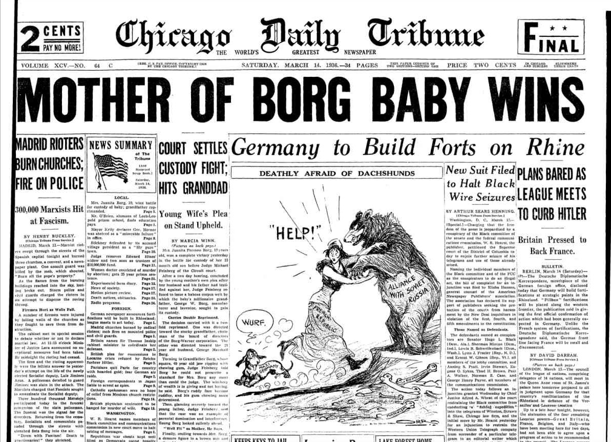 Chicago Daily Tribune March 14, 1936
