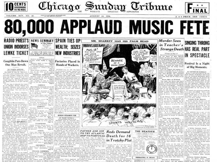 Chicago Sunday Tribune August 16, 1936