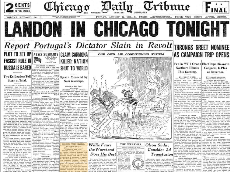 Chicago Daily Tribune August 22, 1936