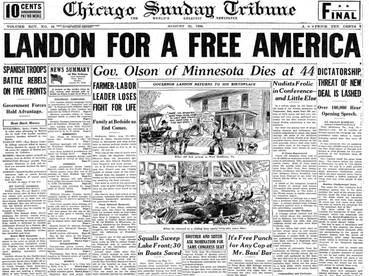 Chicago Sunday Tribune August 23, 1936