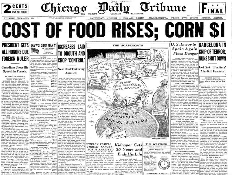 Chicago Daily Tribune August 1, 1936