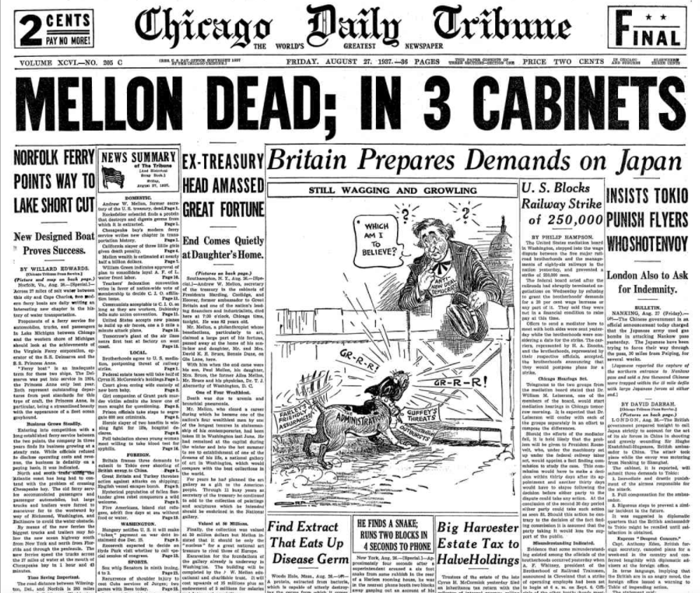 Chicago Daily Tribune August 27, 1937