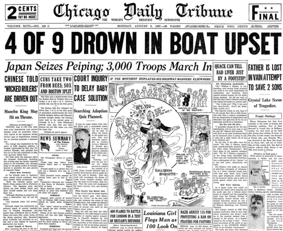 Chicago Daily Tribune August 9, 1937