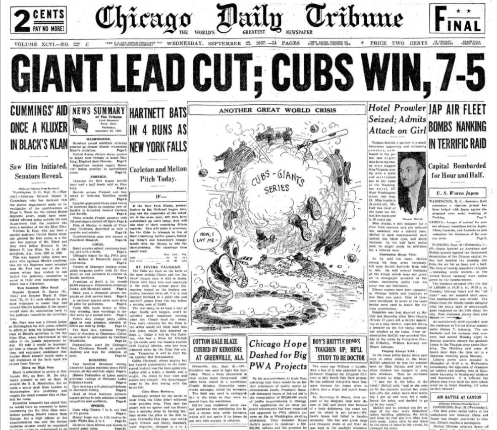 Chicago Daily Tribune Sept 22, 1937